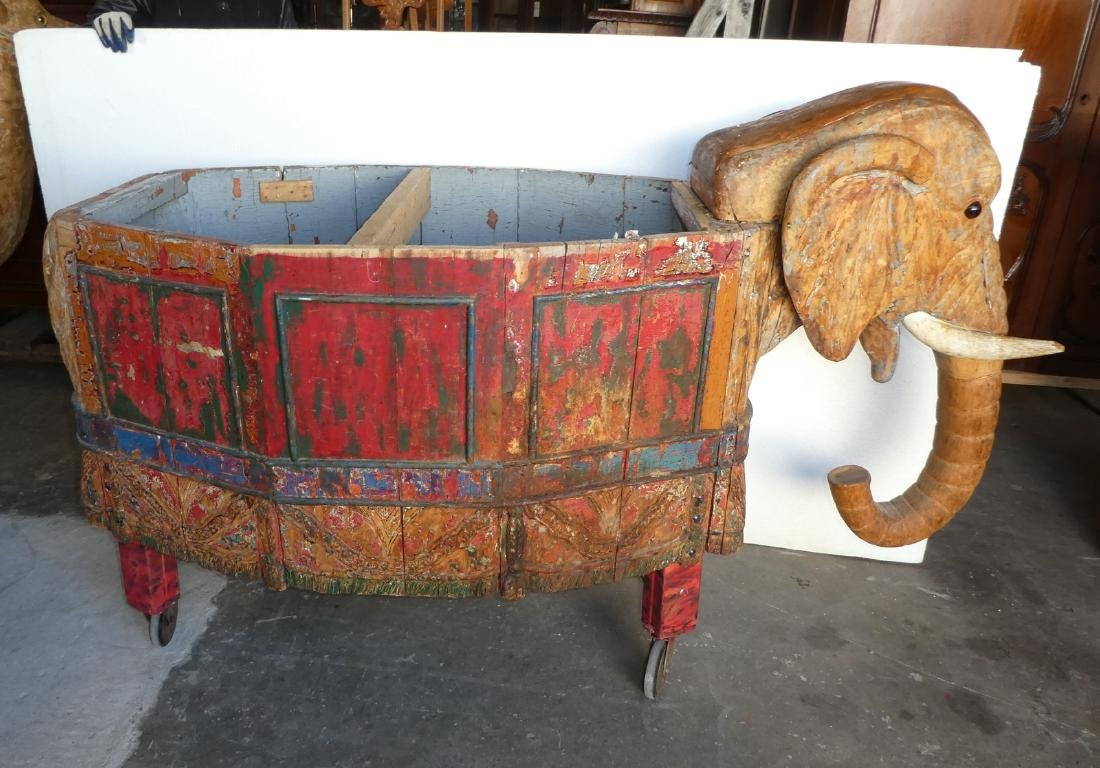 Carved & painted wood elephant form toy cart