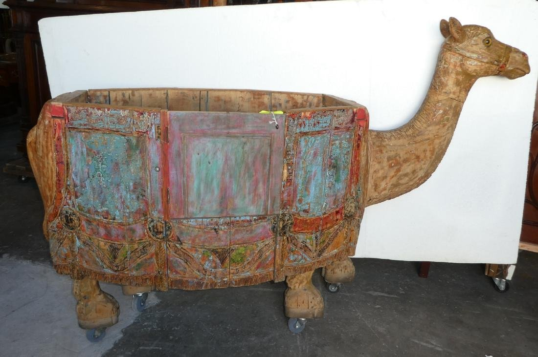 Carved & painted wood camel form toy cart