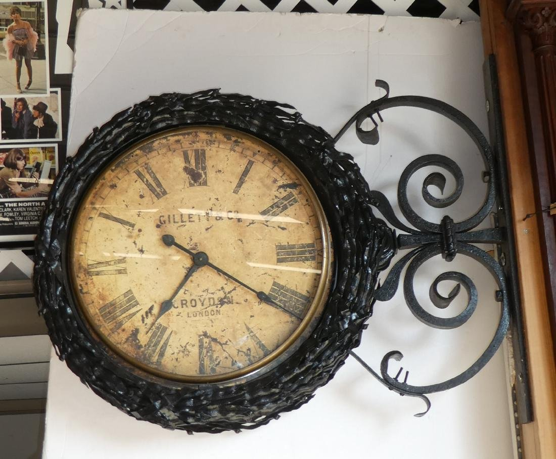 English cast iron double sided bank clock