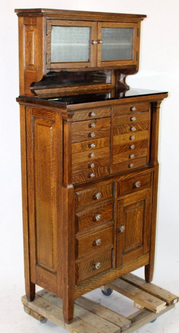 American oak dental cabinet