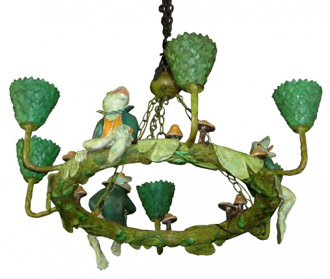 Whimsical chandelier with frogs & lilypads