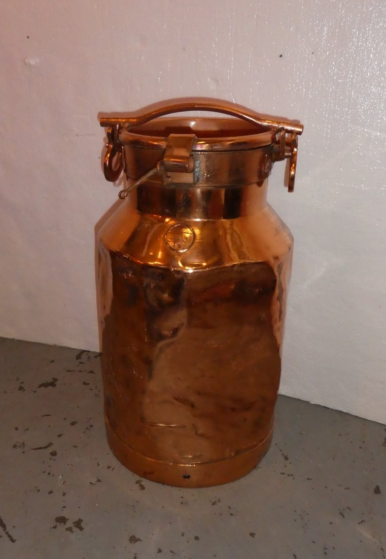 Polished copper milk can