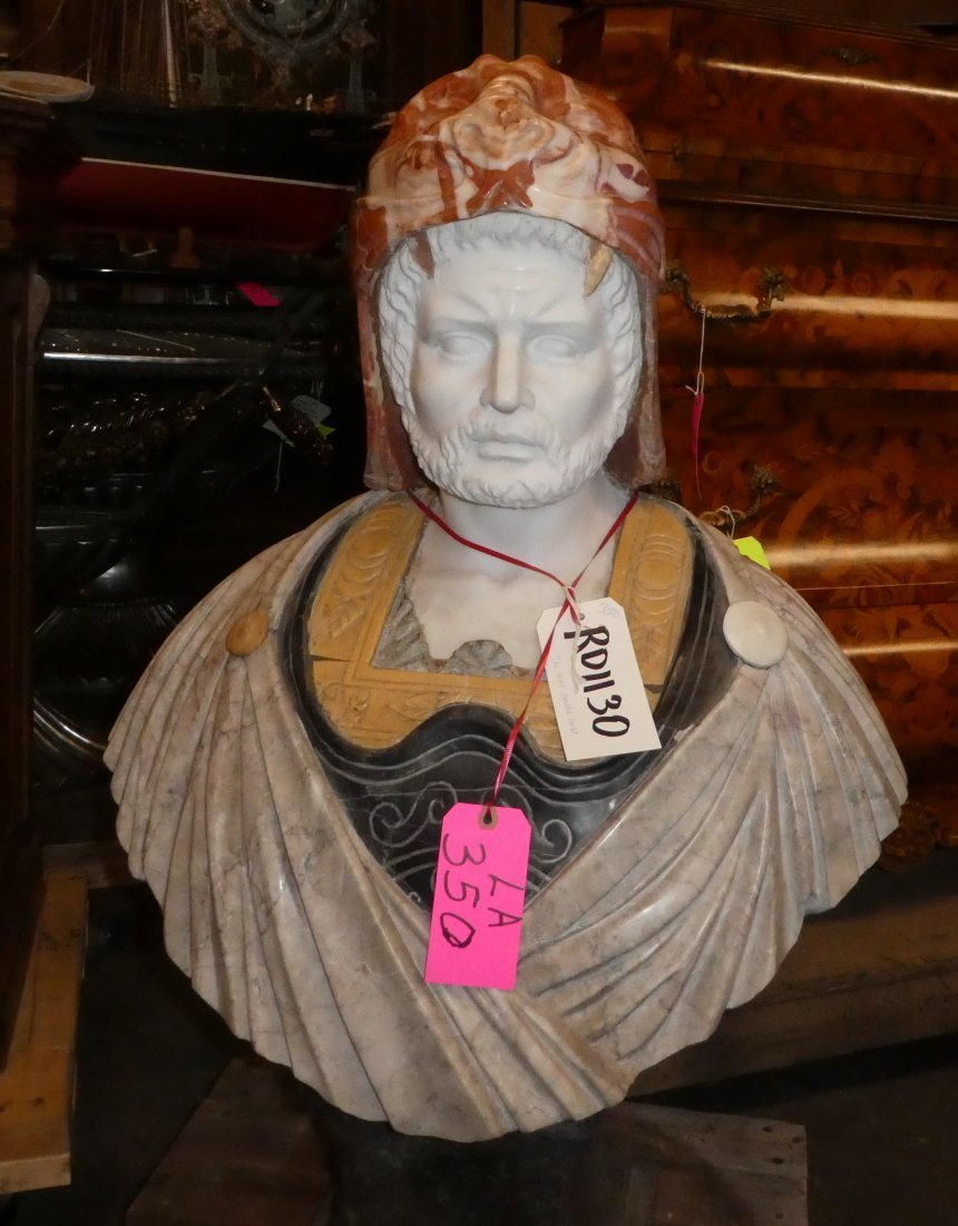 Tri-color marble bust of Roman warrior