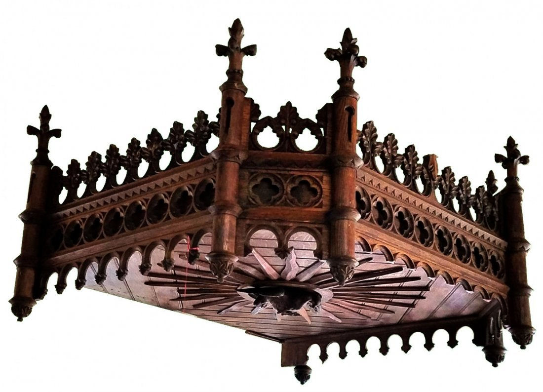 French Gothic Revival canopy in carved oak
