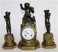 French Louis XVI style bronze 3pc clock set with cherub