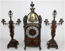 French Gothic Revival 3pc garniture clock set