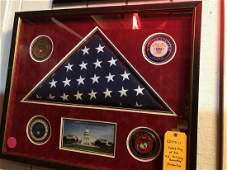 Flag that hung over the US Capitol in a shadowbox