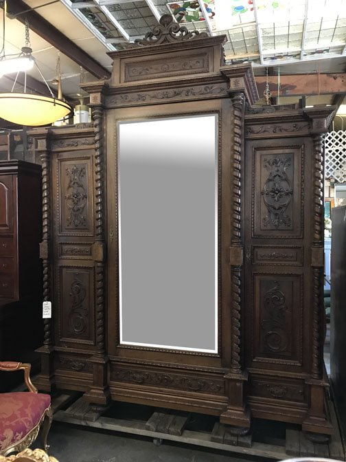 Italian Triple Door Carved Armoire