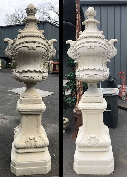 Pair of Belgian Rococo Style Cast Stone Urns