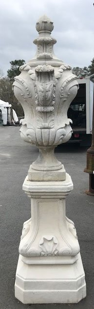 Pair of Belgian Rococo Style Cast Stone Urns - 2