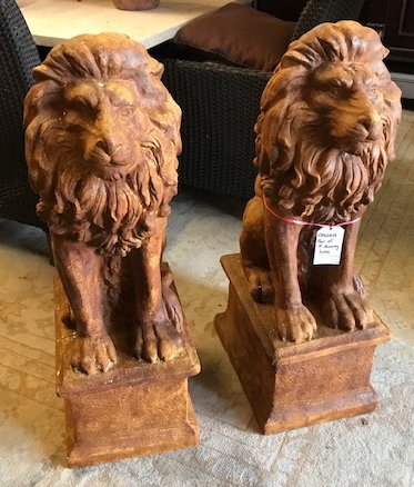 Pair of Small Seated Lions