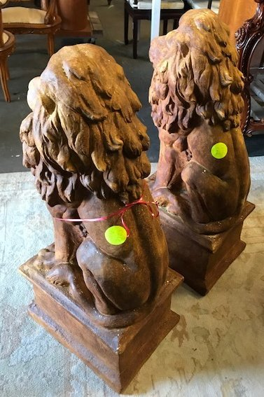 Pair of Small Seated Lions - 2