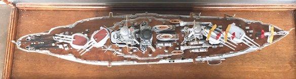 """Model Ship """"Arizona"""" in Glass Display Case - 2"""