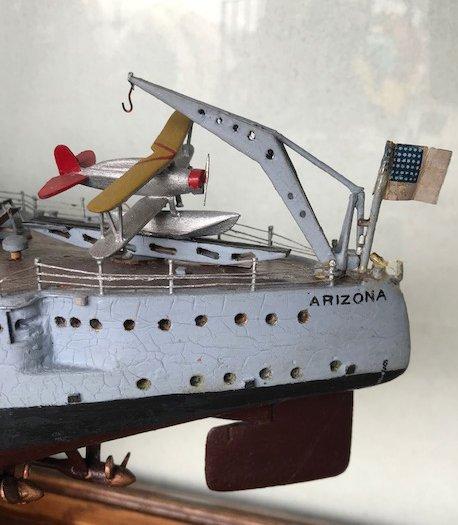 """Model Ship """"Arizona"""" in Glass Display Case - 3"""