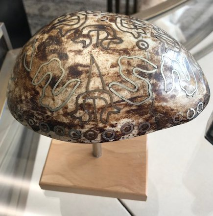 Carved and Inlaid Skull Cap - 3