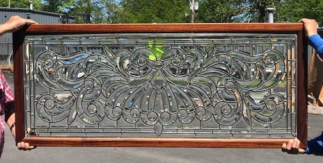 American 1890s Beveled and Leaded Transom Window - 2