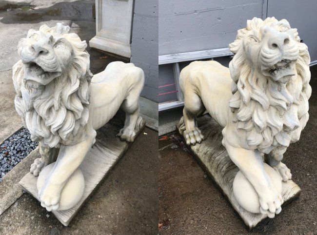 Pair of Belgian Cast Stone Entry Lions