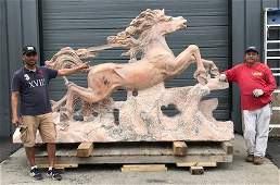 Finely Carved Life Size Marble Horse