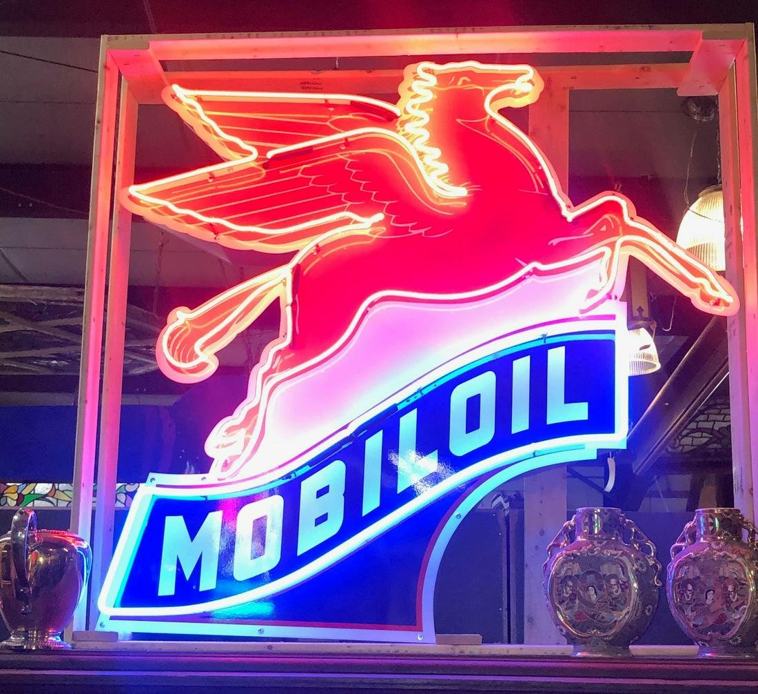 Large Pegasus Mobil Oil neon sign
