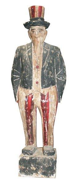 3: Carved wooden statue depicting Uncle Sam