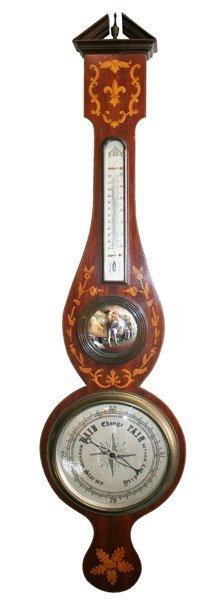 4: Antique English barometer with foliate detail