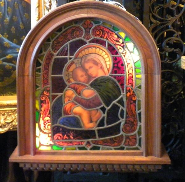 6: Original stained glass window, Madonna and Child