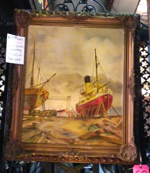 8: Oil on canvas-  Industrial Boat yard, signed