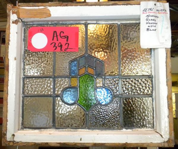 """11: Stained Glass Cottage window. 17""""H x 19""""W"""