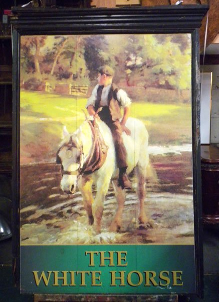 """16: English double sided pub sign """"The White Horse"""""""