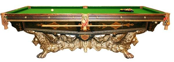 41: Original Brunswick Monarch cushion billiard table