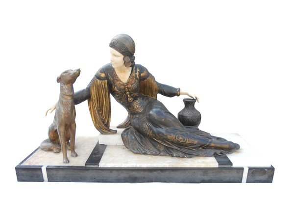 3: French Art Deco statue in spelter
