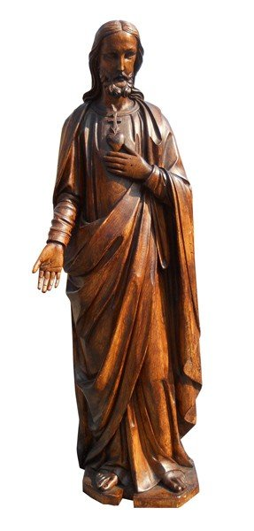 4: 19th c. French carved wooden Jesus statue