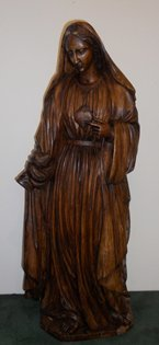 5: 19th c. French carved wooden Mary  statue