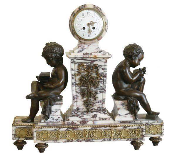 7: French classical mantel clock with cherubs