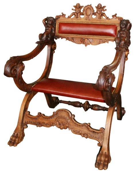 9: 19th century carved chair with putti