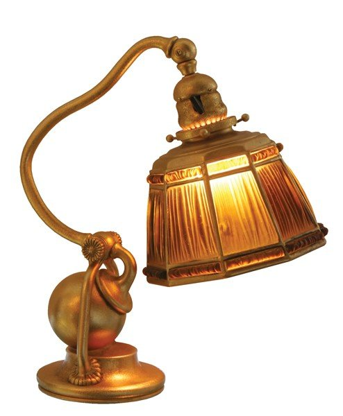 15: Tiffany Studios linenfold desk lamp