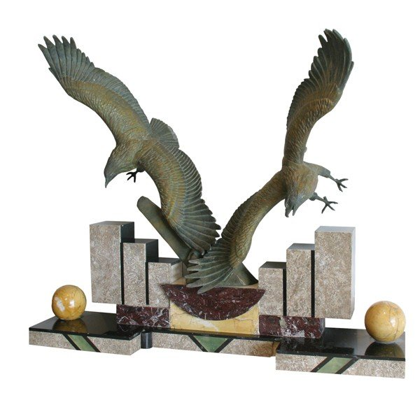 22: French Art Deco statue of soaring gulls