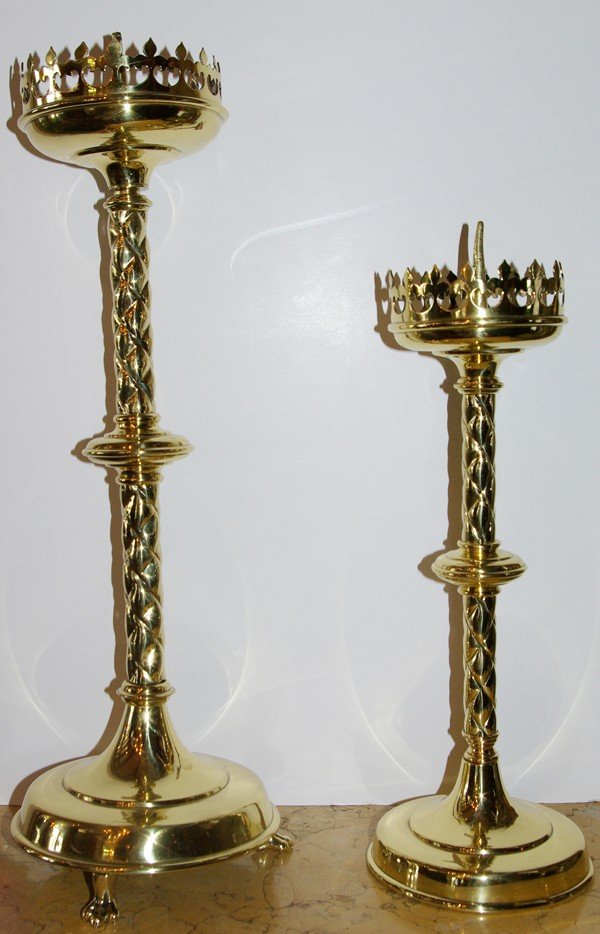"""1: Pair of polished brass candle sticks 22""""h and"""