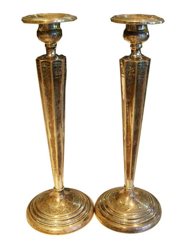 """2: Pair of sterling candle sticks circa 1930, 10"""""""