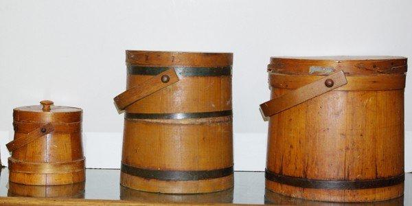 3: Set of three antique wooden sugar bins with li