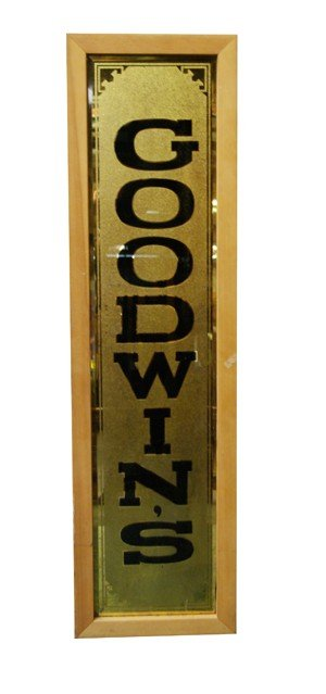 """4: Reverse etched mirror, """"Goodwins"""" 44""""h x 12""""w"""