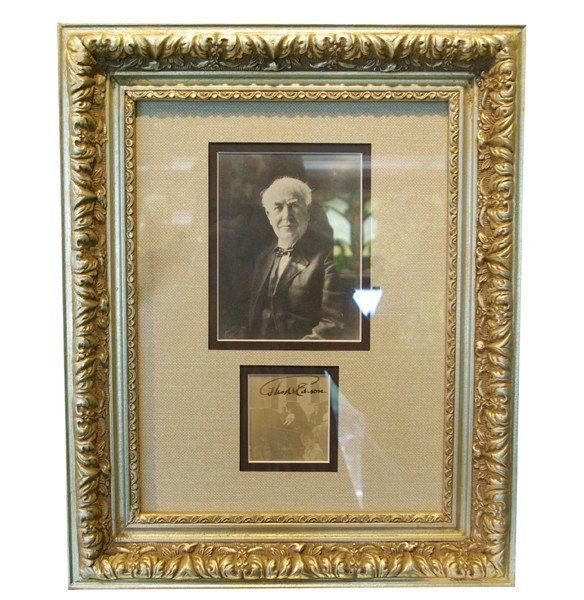 "7: Thomas Edison photograph and signature 16""h x"