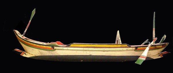 "9: Full hull unrigged model of a canoe 40""l"