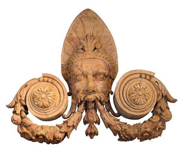 """13: Pair of finely carved neoclassical heads 24""""h"""