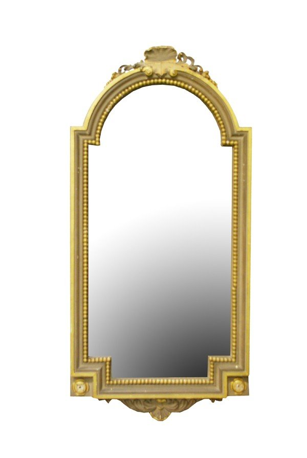 """17: Archtop mirror with shell detail 53""""h x 26""""w"""
