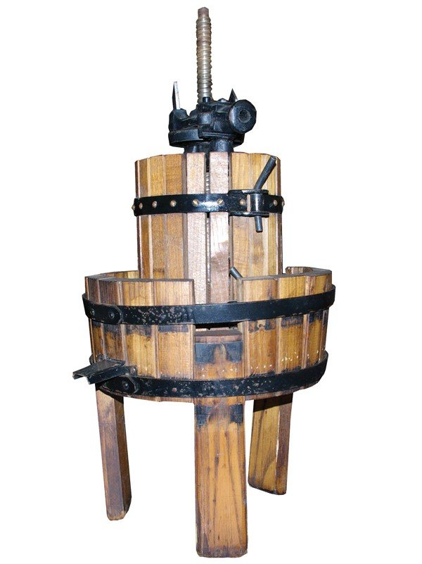 "22: Wine press with barrel base. 2.6' H x 13.5"" D"