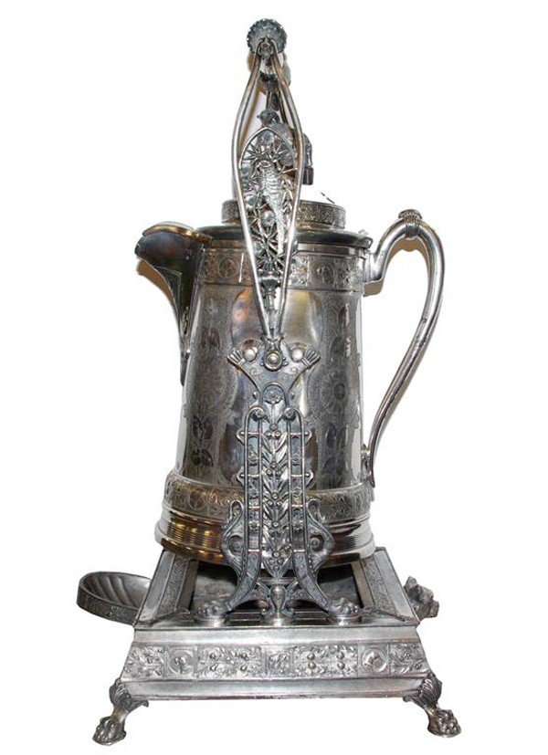 23: Rare etched lemonade pitcher & stand depictin
