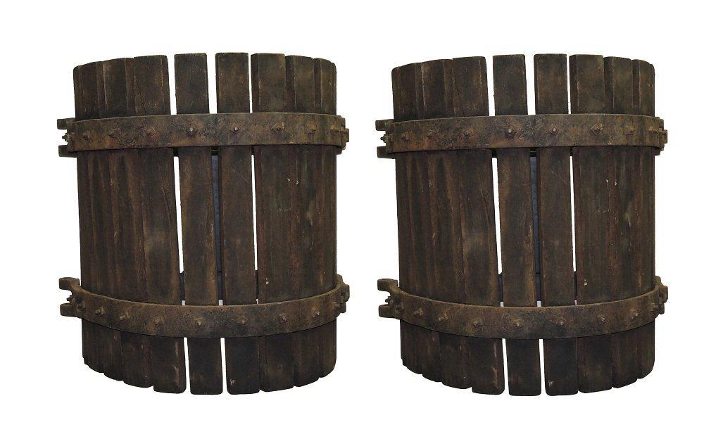 13:Pair of Oak Wine Barrel Sconces