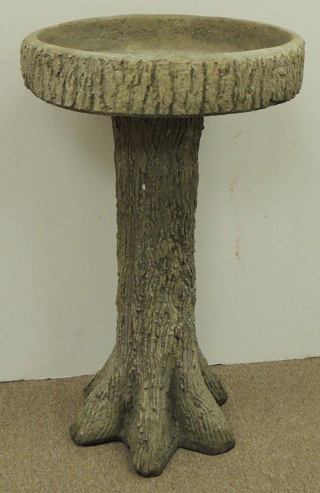 20: Cast Stone Bird Bath with Tree Trunk Base