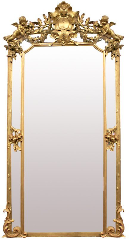 37:Antique French Monumental Mirror with Cherubs